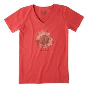 Life is Good Sunflower V-Neck Crusher Tee Sz Small